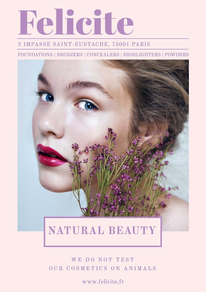 Natural cosmetics advertisement with Tender Woman Poster Modelo de Design