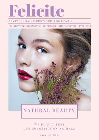 Plantilla de diseño de Natural cosmetics advertisement with Tender Woman Poster