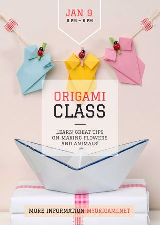 Origami Classes Invitation Paper Garland Flayer Modelo de Design