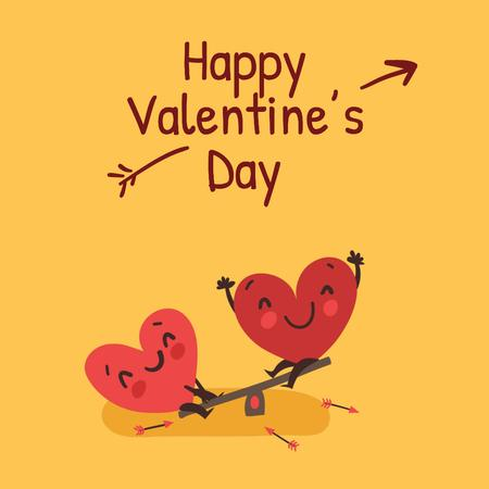 Modèle de visuel Happy Valentine's Day Hearts on seesaw - Animated Post