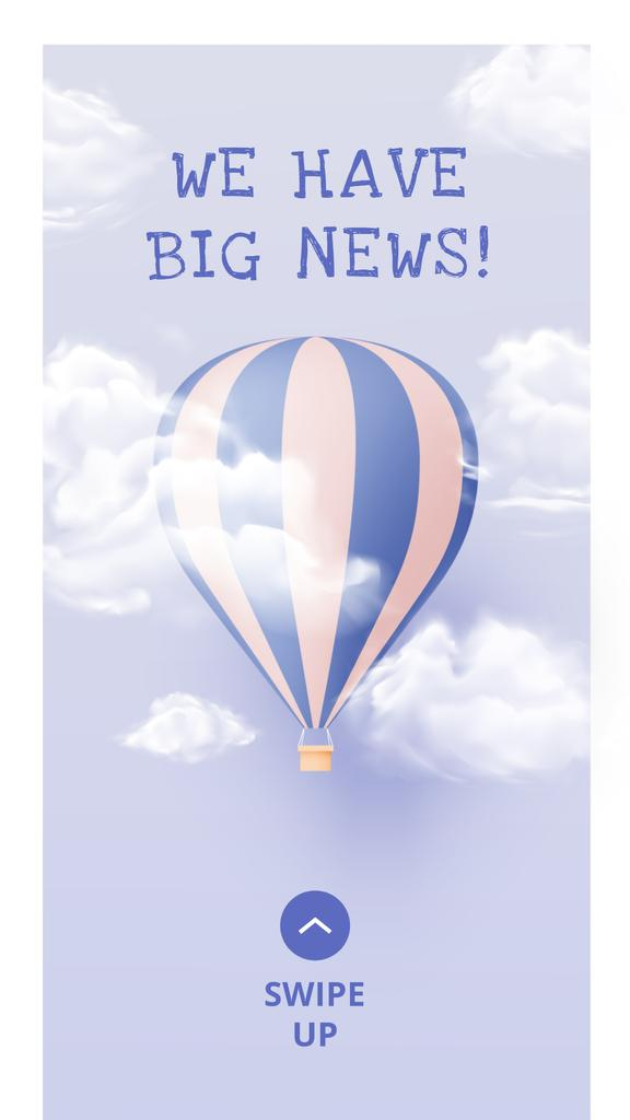 Baby Birth Announcement with Air Balloon in Clouds Instagram Story Modelo de Design