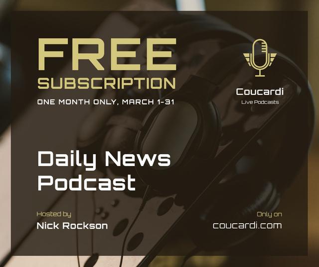 Podcast promotion Headphones in studio Facebookデザインテンプレート