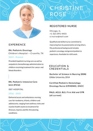 Ontwerpsjabloon van Resume van Registered Nurse skills and experience in Blue