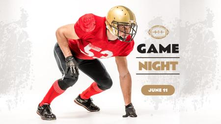 Sport Event Announcement with American Football Player FB event cover Modelo de Design