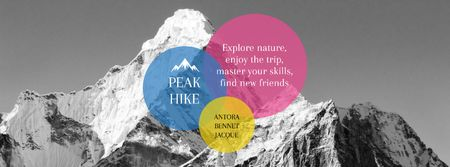 Szablon projektu Hike Trip Announcement with Scenic Mountains Peaks Facebook cover