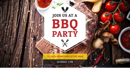 Template di design BBQ party Annoucement Facebook AD