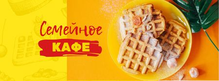 Cafe Offer with Hot Delicious Waffles Facebook cover – шаблон для дизайна
