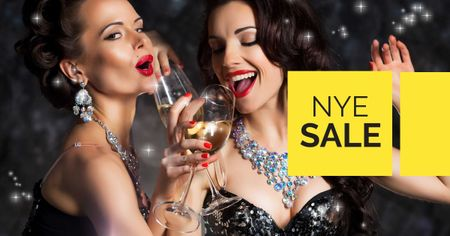 Designvorlage New Year Sale with Girls holding Champagne für Facebook AD