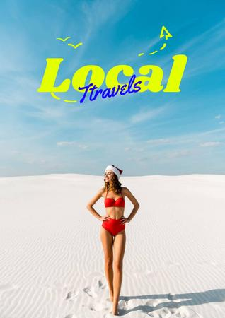 Local Travels Inspiration with Young Woman on Ocean Coast Poster Design Template