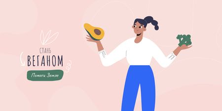 Vegan Lifestyle Concept with Girl holding Papaya Twitter – шаблон для дизайна