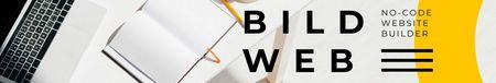 Web Builder Service ad on office table LinkedIn Cover Modelo de Design