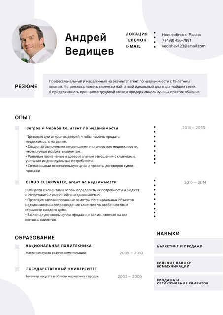 Real Estate skills and experience Resume – шаблон для дизайна
