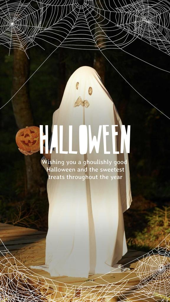 Halloween Greeting with Scary Ghost holding Pumpkin Instagram Story – шаблон для дизайна