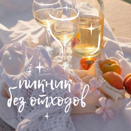 Zero Waste Picnic with White Wine and Apricots Instagram – шаблон для дизайна