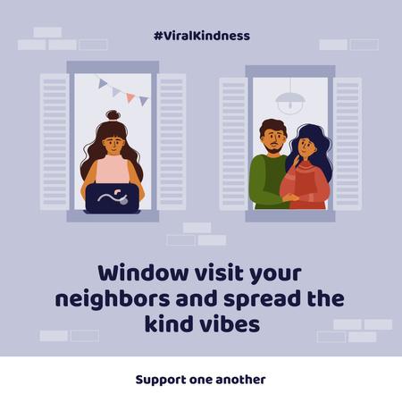 Plantilla de diseño de #ViralKindness with friendly Neighbors staying at home Instagram