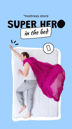 Plantilla de diseño de Mattress Store Offer with Funny Sleeping Man Instagram Story