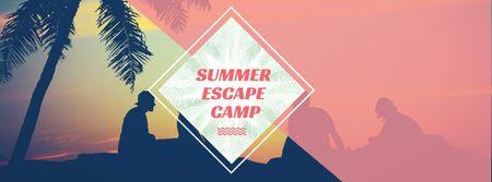 Summer Camp friends at sunset beach Facebook cover – шаблон для дизайна