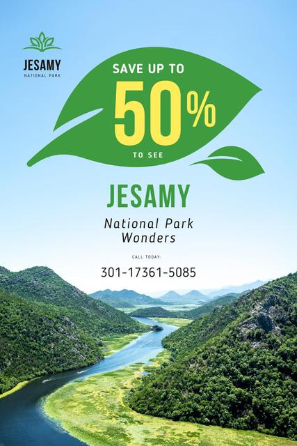 National Park Tour Offer with Forest and Mountains Pinterest – шаблон для дизайна