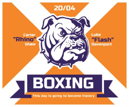 Modèle de visuel Boxing Match Announcement Bulldog on Orange - Large Rectangle