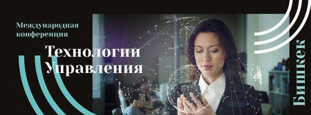 Businesswoman using smartphone Facebook cover – шаблон для дизайна