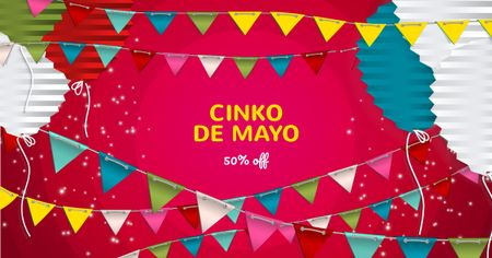 Cinco De Mayo Sale with Festive Decoration Facebook AD Modelo de Design