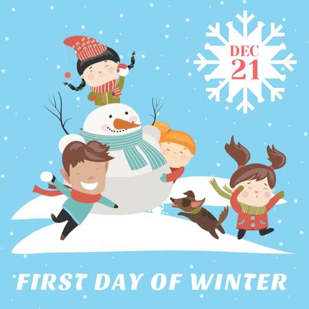 Ontwerpsjabloon van Instagram van First day of winter with Сhildren making Snowman