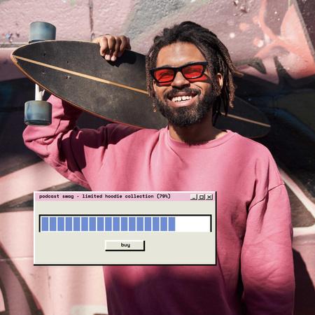 Podcast Ad with Hipster holding Skateboard Instagram Tasarım Şablonu