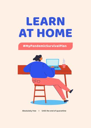 Ontwerpsjabloon van Poster van #MyPandemicSurvivalPlan Man studying Globe on screen