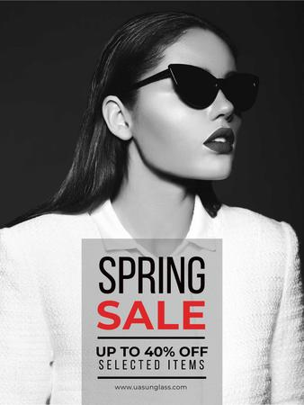 Plantilla de diseño de Spring Sale with Beautiful Girl in Black and White Poster US