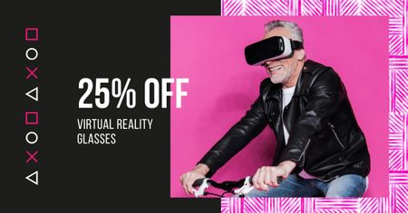 Plantilla de diseño de Discount Offer with Man using VR Glasses Facebook AD