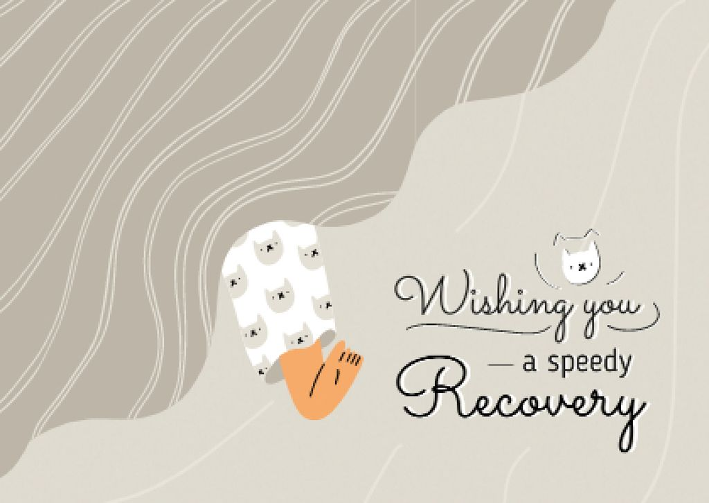 Get Well Wish with Cute Cat Face Cardデザインテンプレート