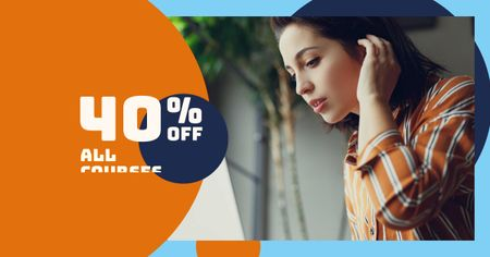 Courses Discount Offer with Woman in Earphones Facebook AD Modelo de Design
