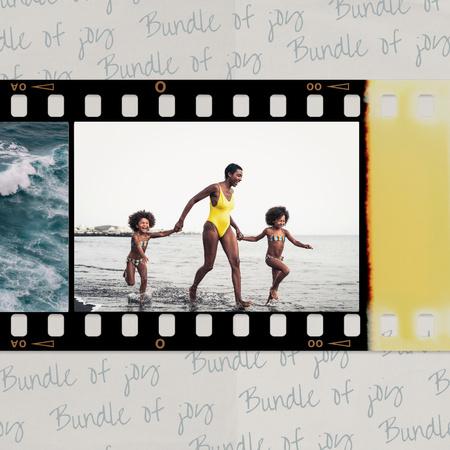 Happy Mother with Kids on Beach Instagram – шаблон для дизайну