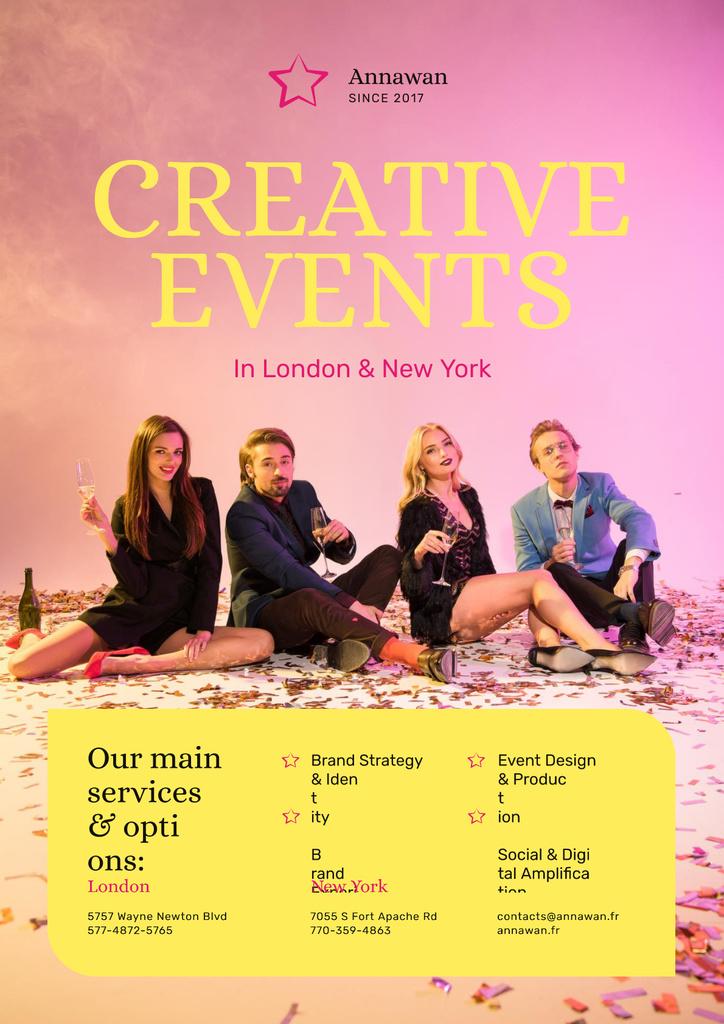 Creative Event Invitation People with Champagne Glasses — Modelo de projeto