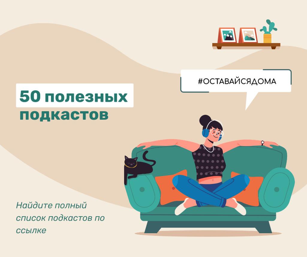 #StayAtHome Woman listening music on sofa with cat Facebook – шаблон для дизайна