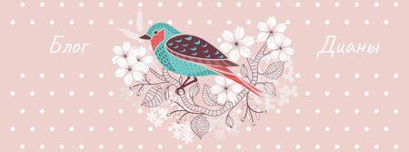 Blog Illustration with Cute Bird on Pink Facebook cover – шаблон для дизайна