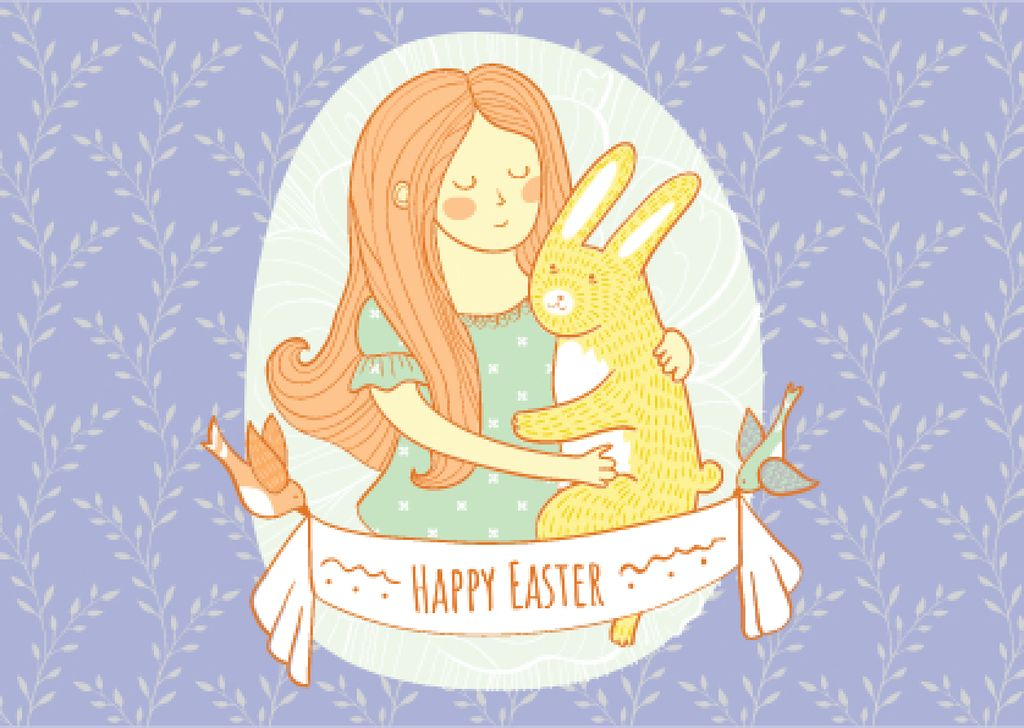 Happy Easter Greeting with Girl Hugging Bunny Postcard Design Template