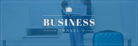 Businessman with Travelling Suitcase Twitter Modelo de Design