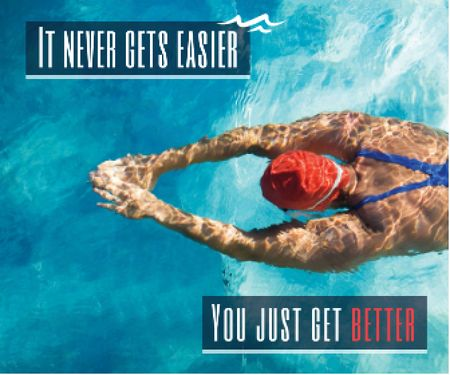 Ontwerpsjabloon van Large Rectangle van Inspirational quote poster with swimmer