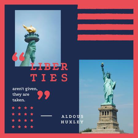 Quote with Liberty Statue view Instagram Design Template