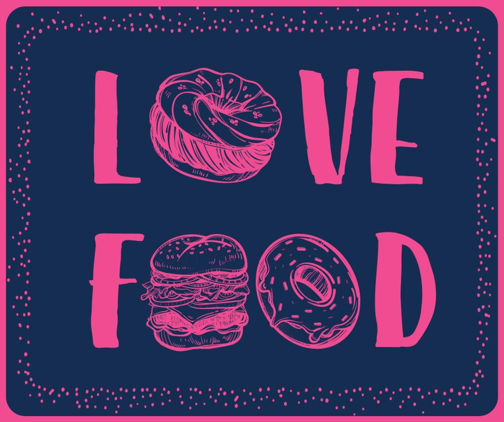 Ontwerpsjabloon van Facebook van Love Food inscription with fast food icons