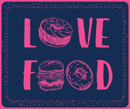 Love Food inscription with fast food icons Facebook – шаблон для дизайна