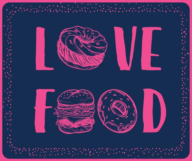 Love Food inscription with fast food icons Facebook Tasarım Şablonu