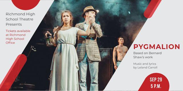 Designvorlage Theatre Invitation with Actors in Pygmalion Performance für Twitter