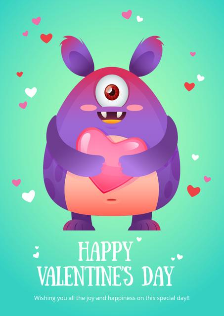 Happy valentine's day Greeting with Cute monster Poster Tasarım Şablonu