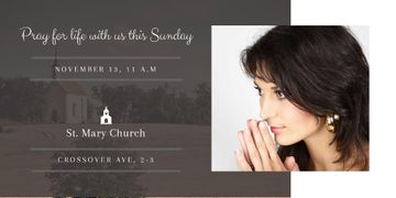 Church Invitation with praying Woman