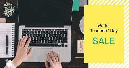 Modèle de visuel Teacher's Day Offer with Woman typing on Laptop - Facebook AD
