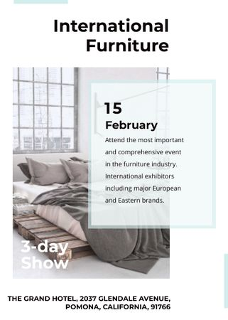 Plantilla de diseño de Furniture Show Bedroom in Grey Color Invitation