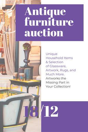 Plantilla de diseño de Antique Furniture Auction with Vintage Wooden Pieces Pinterest