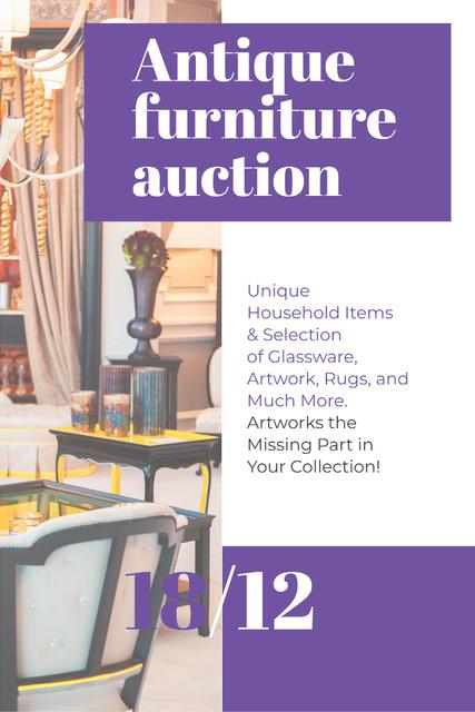 Plantilla de diseño de Antique Furniture Auction with Vintage Wooden Pieces Pinterest